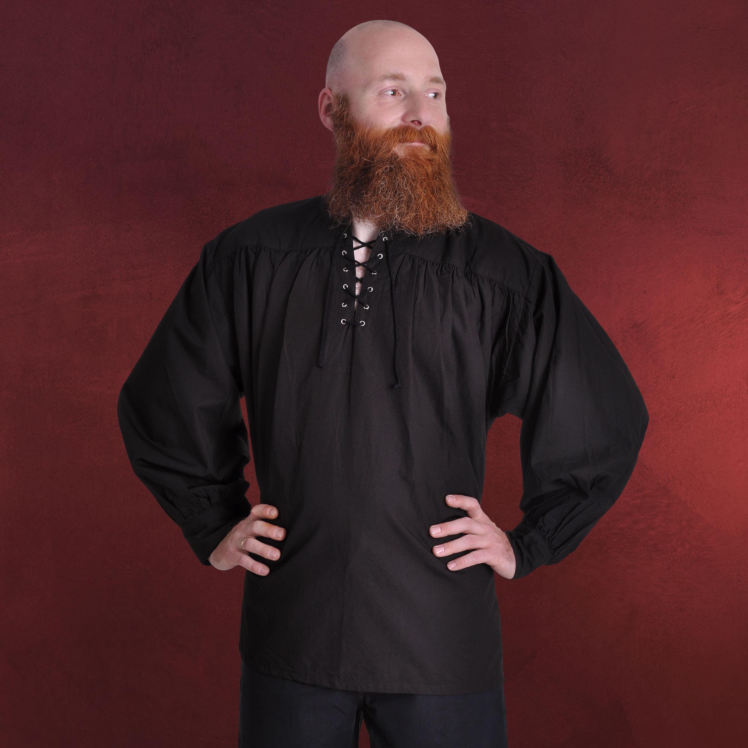 Details zu mittelalter gewand herren hemd schwarz mit schnürung