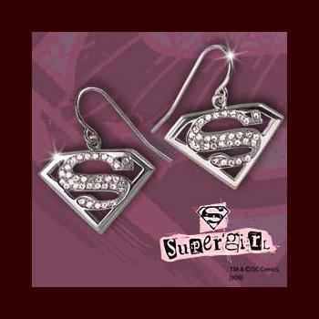 Supergirl Ohrringe, Silber mit klaren Kristallen