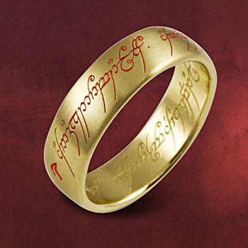 Herr der Ringe - Gold Ring  mit roter Inschrift