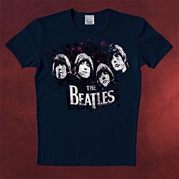 Beatles - Vintage Heads T-Shirt dunkelblau