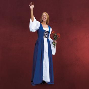 Magdkleid blau - Mittelalterliches Kost�m