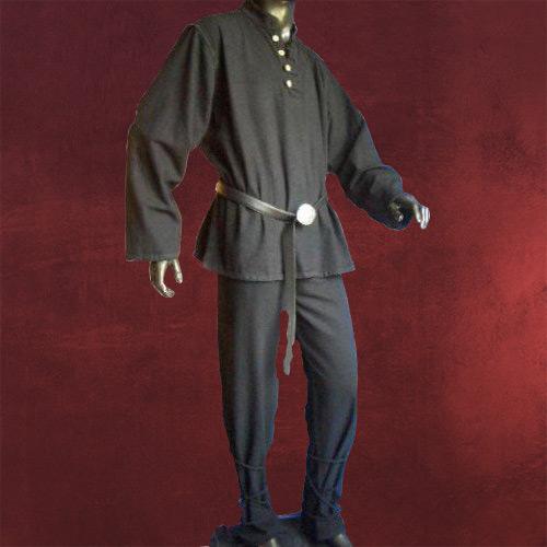 Mittelalter kleidung herren hemd leinenoptik schwarz ebay - Festliche kleidung herren ...