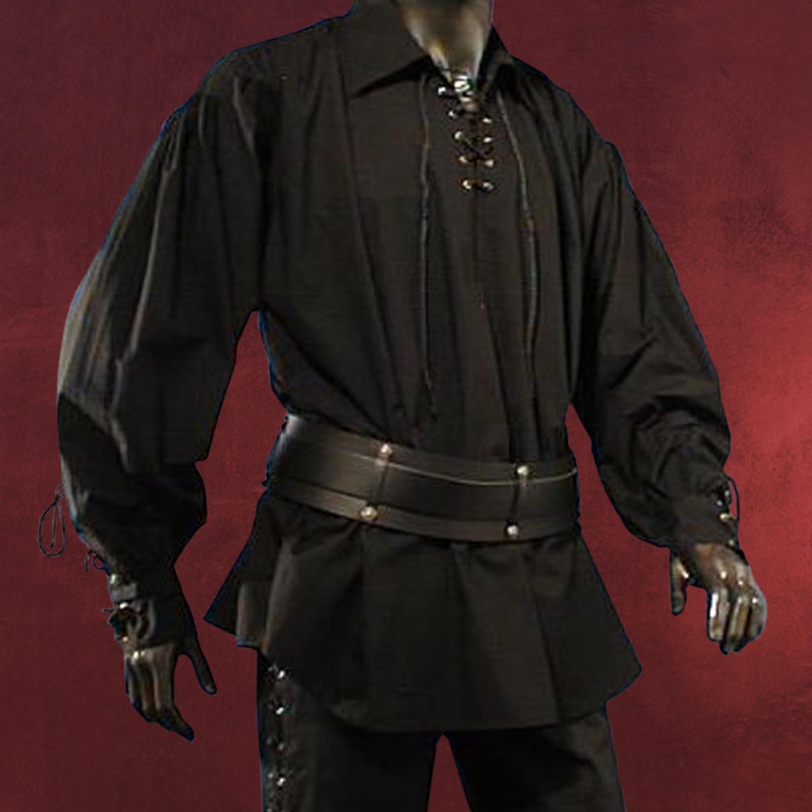 mittelalter hemd m breitem kragen schn rung schwarz. Black Bedroom Furniture Sets. Home Design Ideas