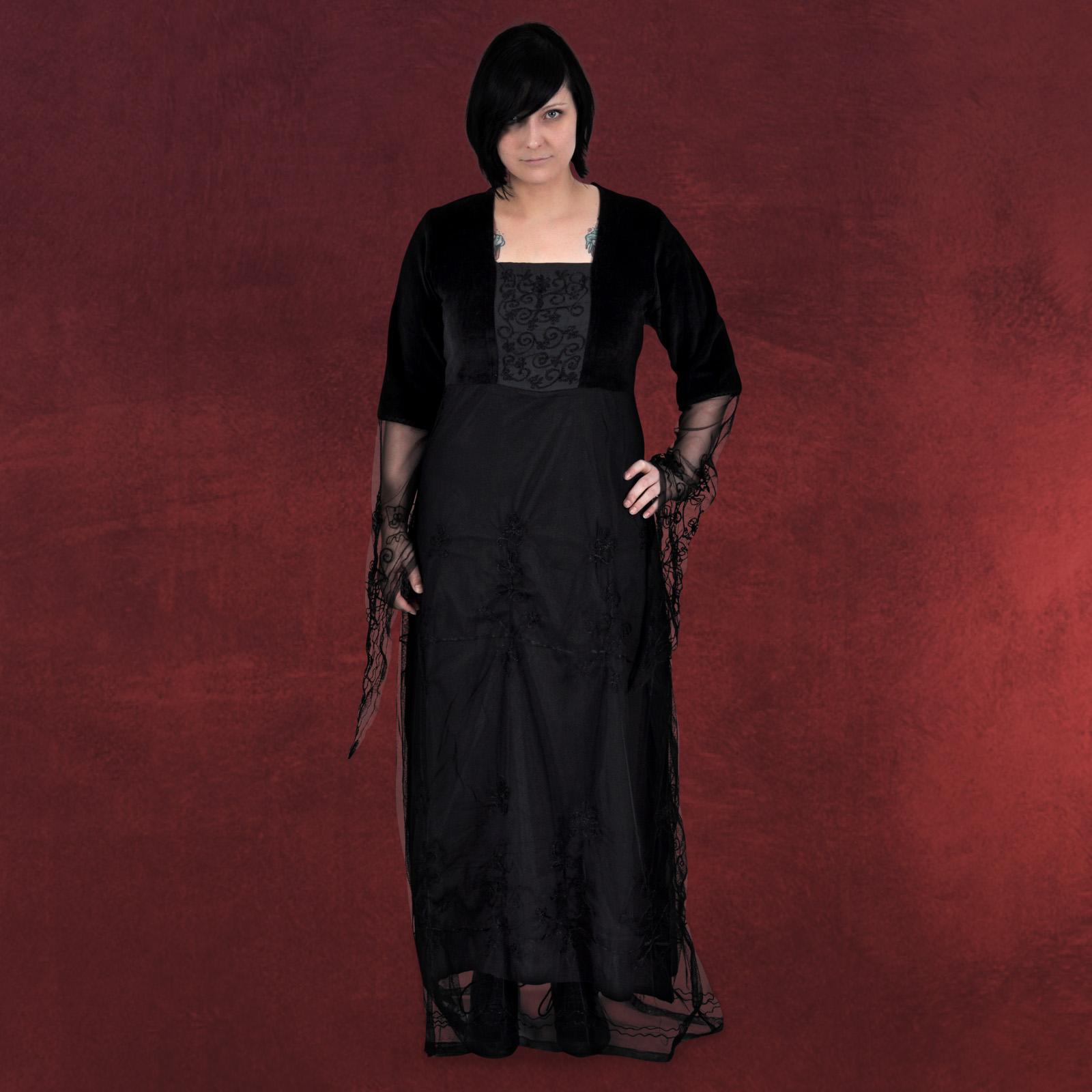 mittelalter gewand damen gothic kleid schwarz bestickt ebay. Black Bedroom Furniture Sets. Home Design Ideas