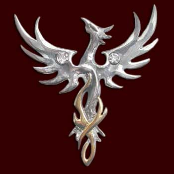 Phönix - Silberanhänger mit Kette