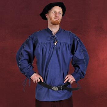 Mittelalter Stehkragenhemd mit Schnürung blau