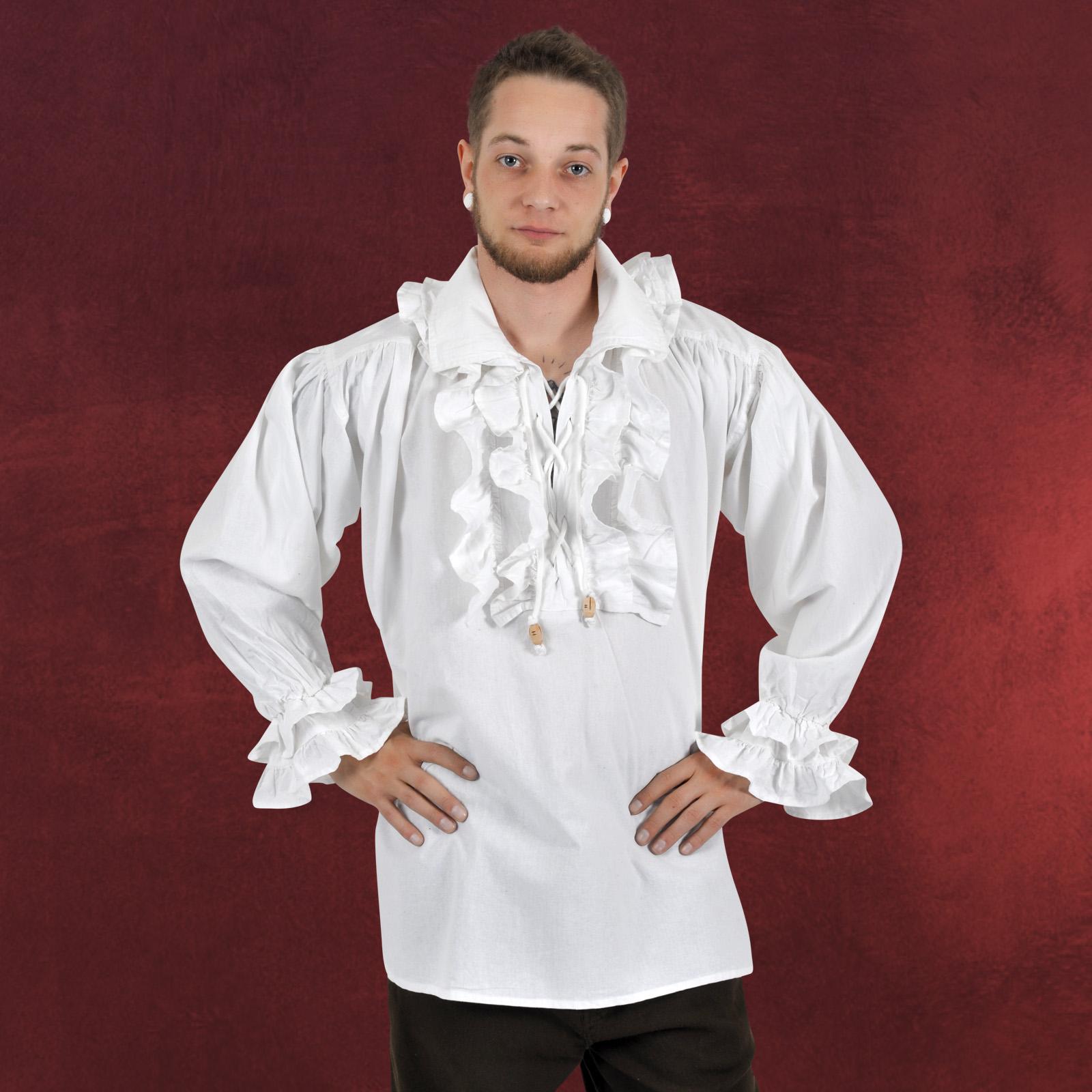 mittelalter gewand herren hemd wei mit r schen ebay. Black Bedroom Furniture Sets. Home Design Ideas