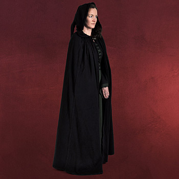 Mittelalter Umhang mit Zipfelkapuze schwarz
