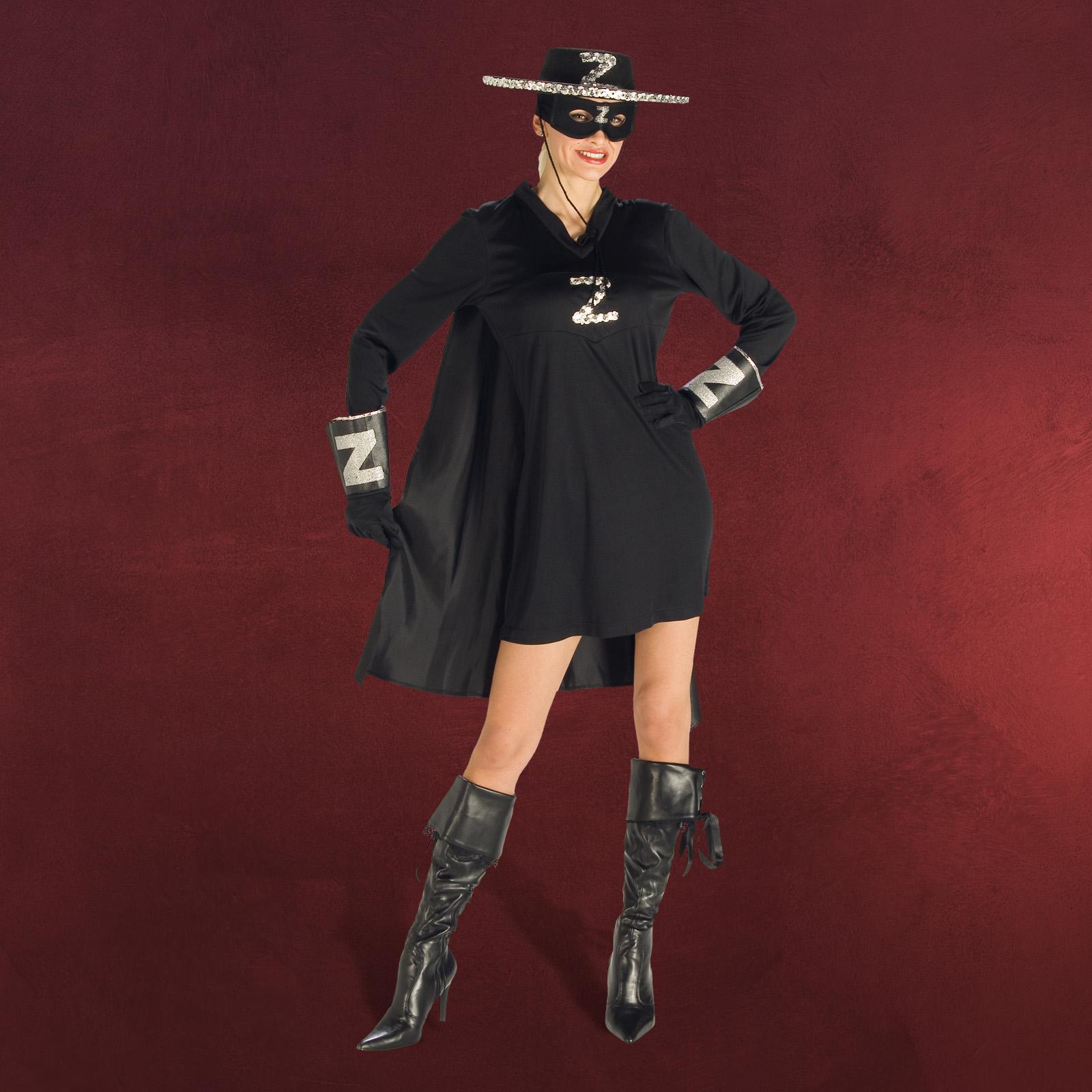 fasching karneval damenkost m zorro lady kleid u cape ebay. Black Bedroom Furniture Sets. Home Design Ideas