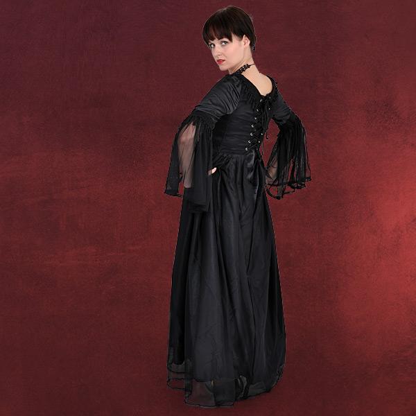 mittelalter gothic gewand chiffon kleid lang schwarz. Black Bedroom Furniture Sets. Home Design Ideas