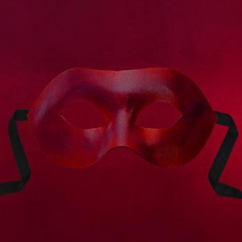 Venezianische Maske - Colombina Liscia rot