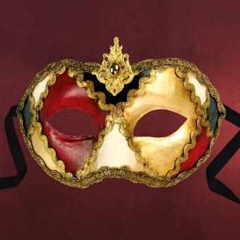 Venezianische Maske - Colombina scacchi colore