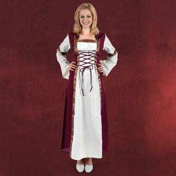 Saphiria Mittelalter Kleid natur-bordeaux