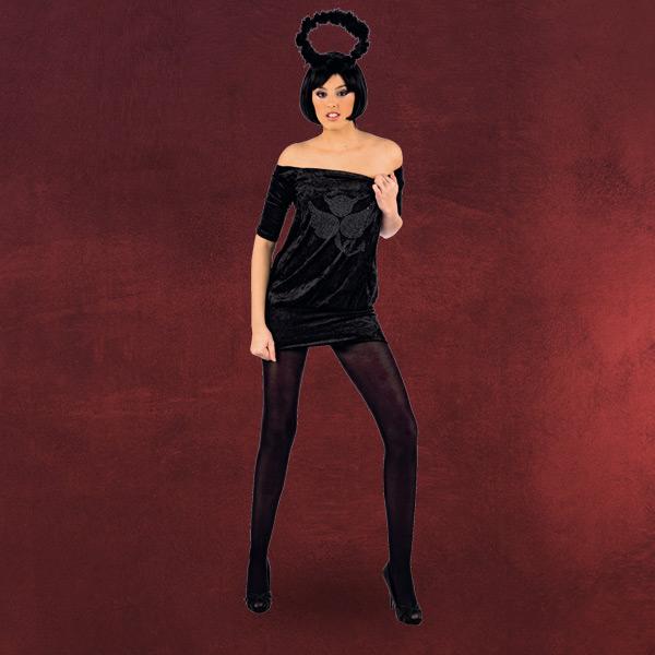 fasching kost m damen schwarzer engel 2teilig minikleid. Black Bedroom Furniture Sets. Home Design Ideas