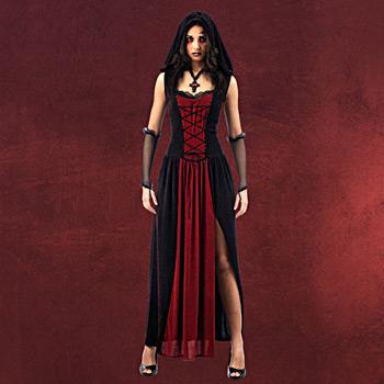 Gothic Vampirkleid mit Kapuze
