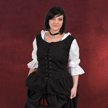 Mittelalter-Blusentop mit Schnürung schwarz