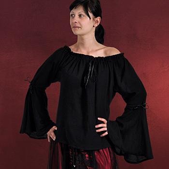 Cecilia Mittelalter Bluse schwarz