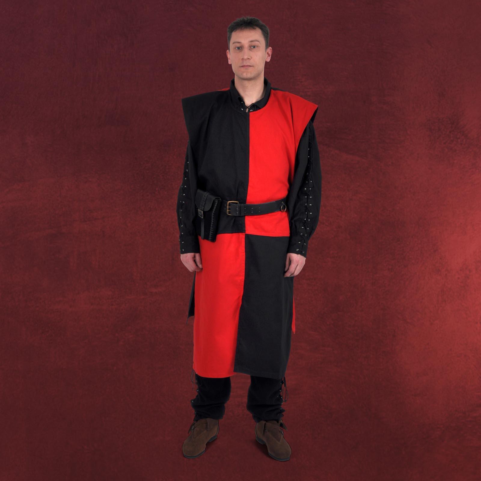 mittelalter gewand waffenrock ritter mann schwarz rot schachbrett muster ebay. Black Bedroom Furniture Sets. Home Design Ideas
