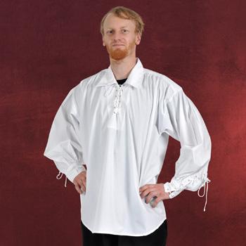 Piratenhemd mit breitem Kragen weiß