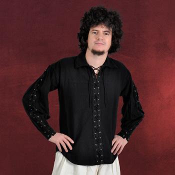 Mittelalterhemd mit Schnürung schwarz