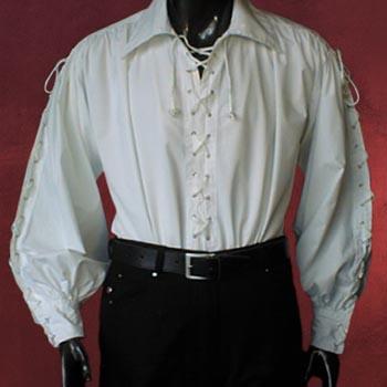 Knecht Hemd mit durchgehender Schnürung weiß