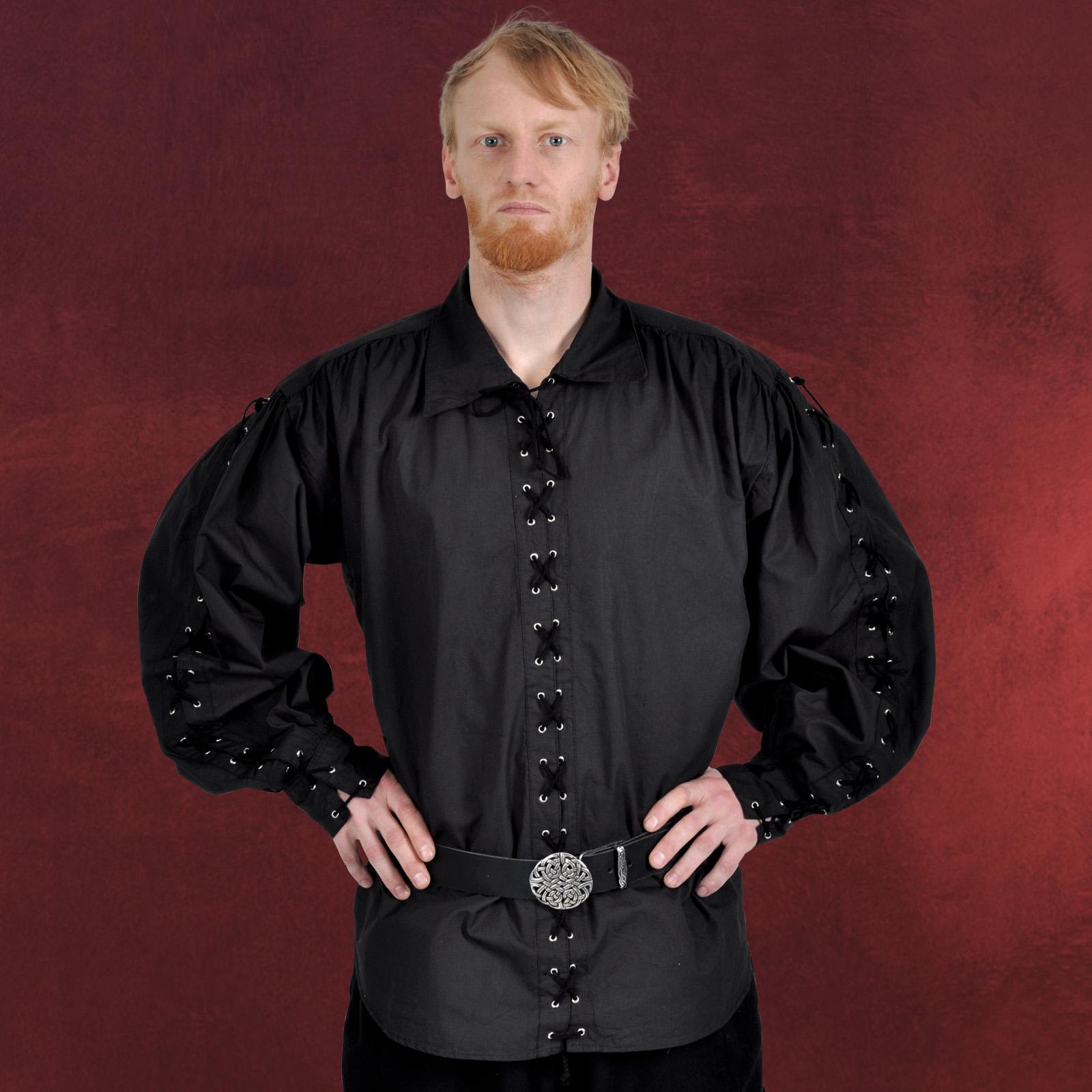 Details zu mittelalter gewand knecht hemd mit schnürung schwarz