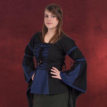 Mittelalter Bluse im Leinen Look schwarz-blau