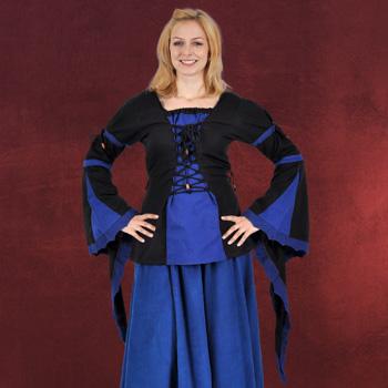 Mittelalter Bluse mit Schnürung schwarz-blau