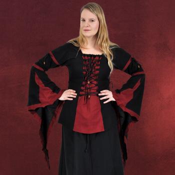 Mittelalter Bluse mit Schn�rung schwarz-rot
