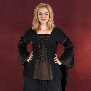 Mittelalter Bluse mit Schn�rung schwarz-braun