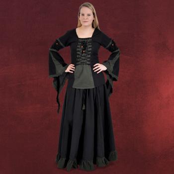Mittelalter Bluse mit Schnürung schwarz-grün
