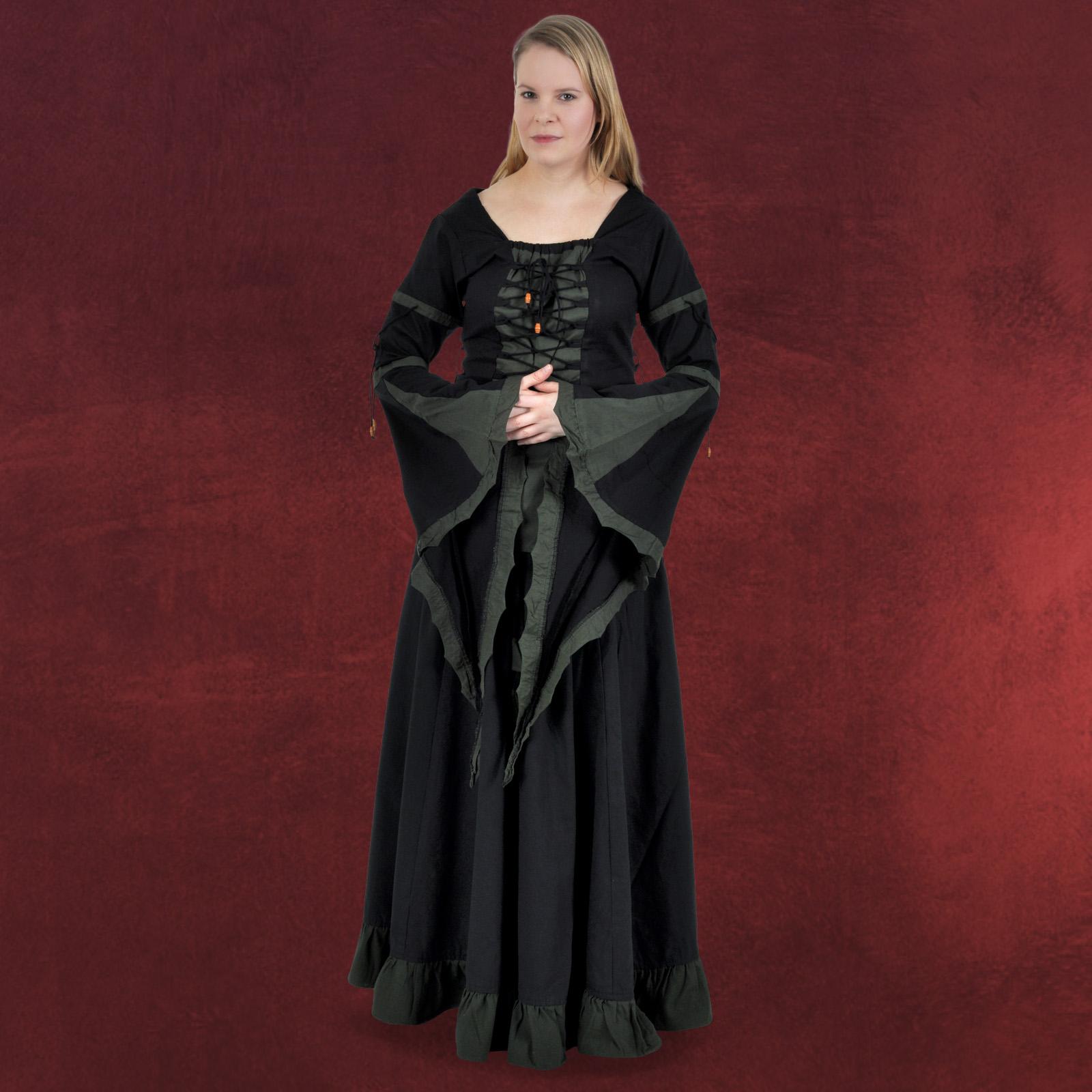 mittelalter bluse im korsagen stil schwarz gr n lange trompeten rmel schn rung ebay. Black Bedroom Furniture Sets. Home Design Ideas