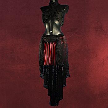 Spitzenrock mit Gummizug schwarz-rot