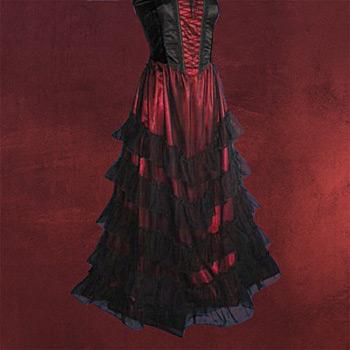 Stufenrock schwarz-rot