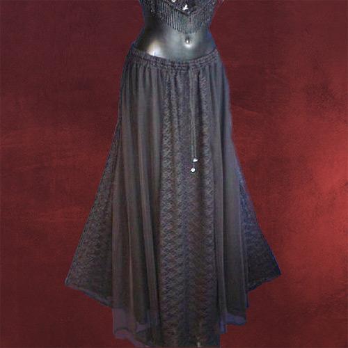 gothic mode chiffon spitzen rock lang schwarz m. Black Bedroom Furniture Sets. Home Design Ideas