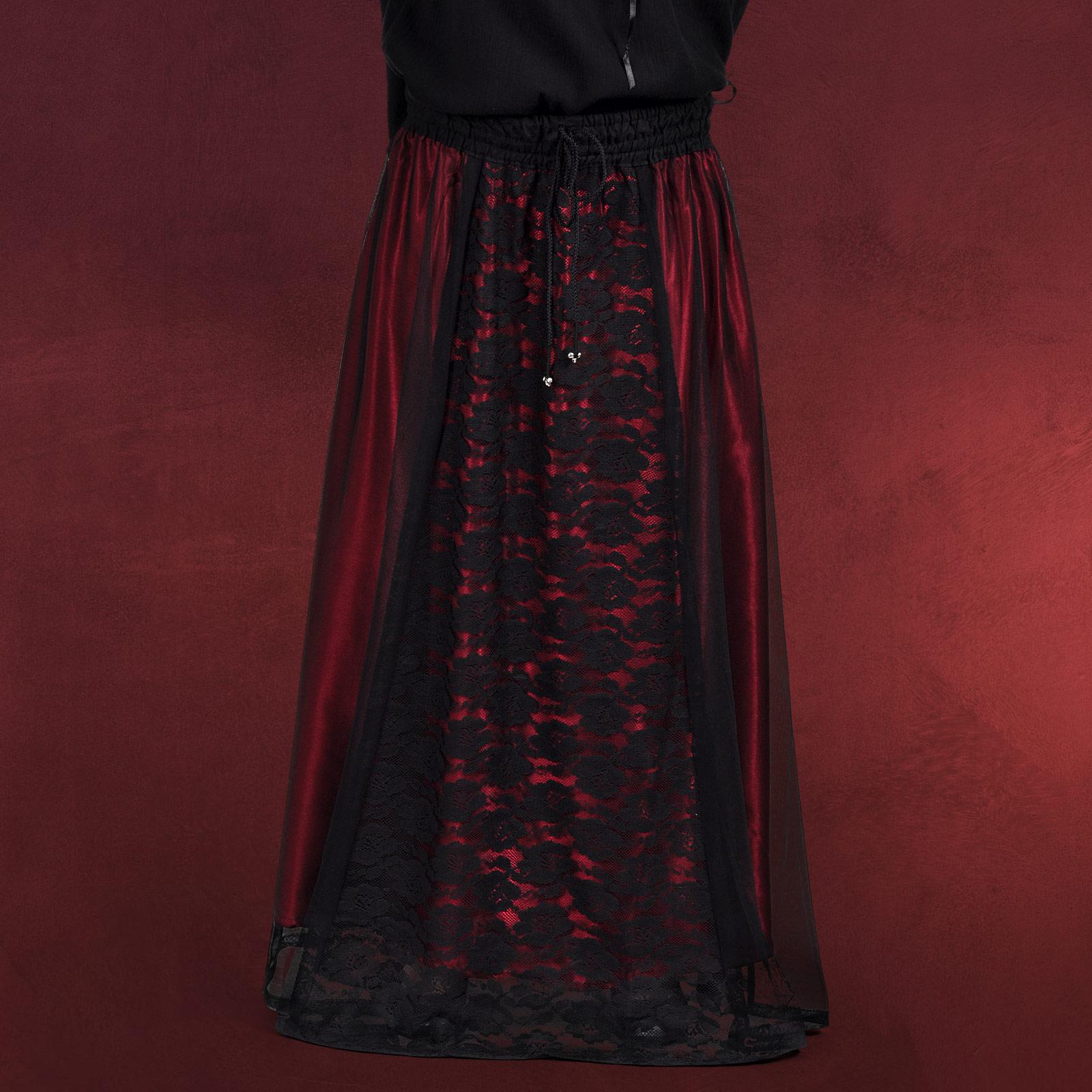 gothic mode chiffon spitzen rock lang edel schwarz rot. Black Bedroom Furniture Sets. Home Design Ideas