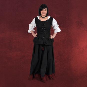 Mittelalterrock mit R�schen schwarz-rot