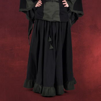 Mittelalterrock mit R�schen schwarz-gr�n