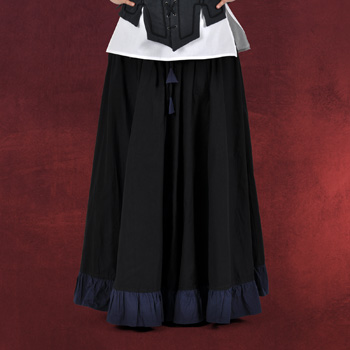 Mittelalterrock mit R�schen schwarz-blau