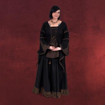 Mittelalterrock mit Rüschen schwarz-braun