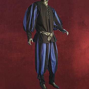 Landsknecht Gewand schwarz-blau