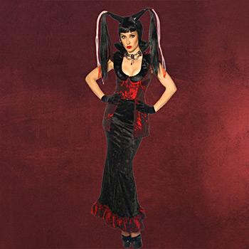 Hexen-Vampir Kost�m schwarz-rot