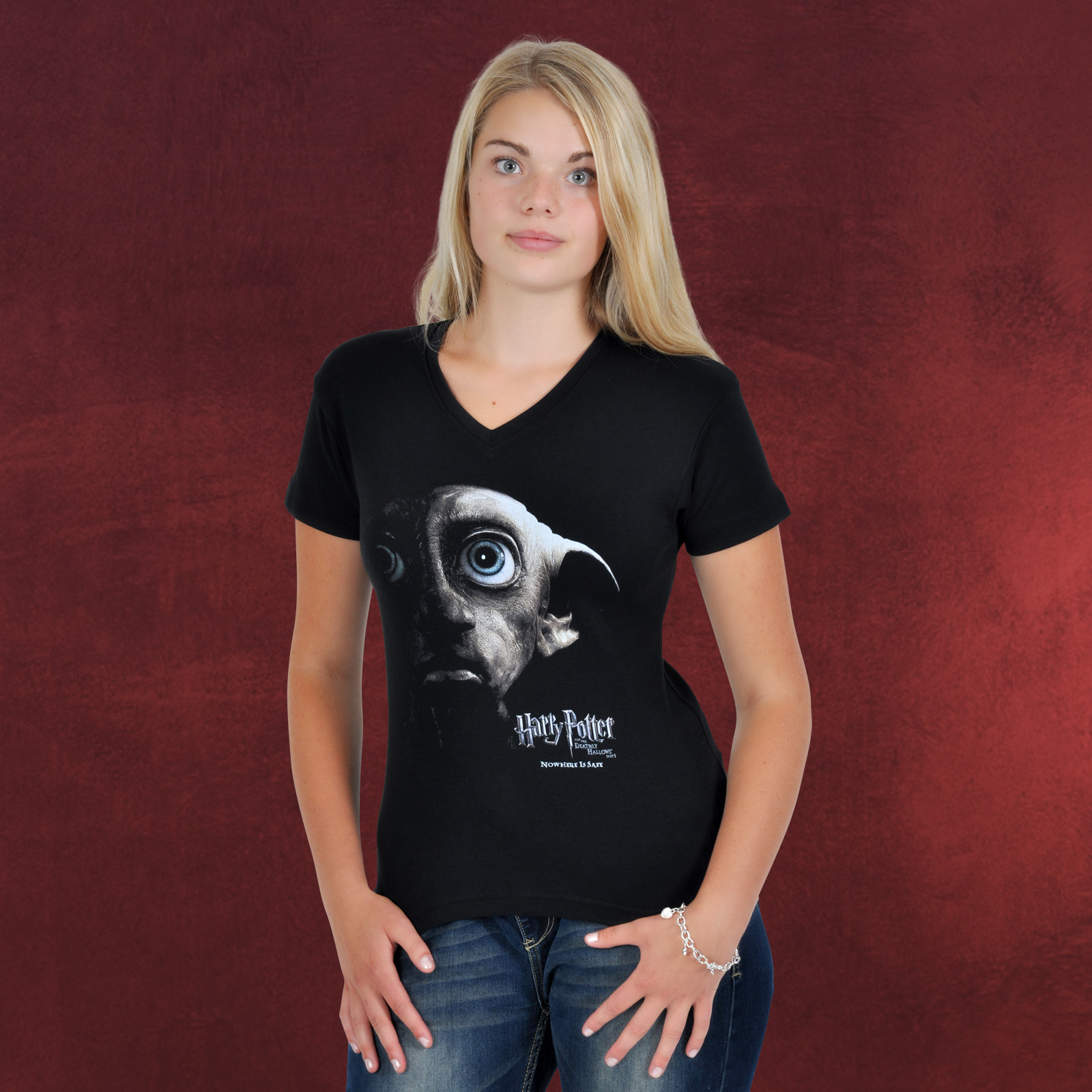 harry potter dobby hauself girlie shirt zum finalen kinofilm nowhere is safe ebay. Black Bedroom Furniture Sets. Home Design Ideas