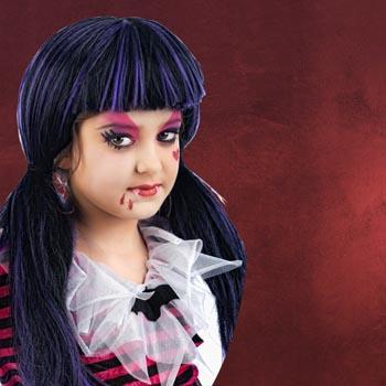 Vampir Girl Perücke schwarz, lila