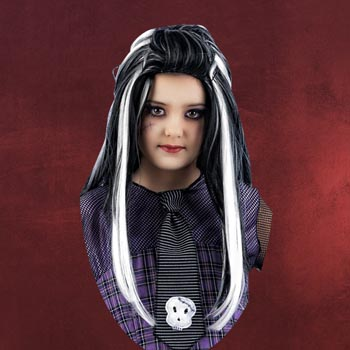 Frankenstein Girl Per�cke schwarz, wei�