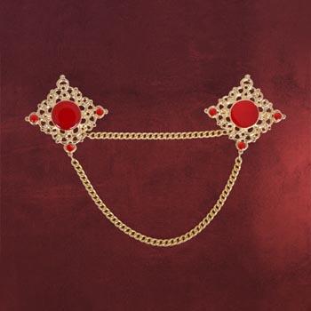 Gold Brosche mit roten Steinen