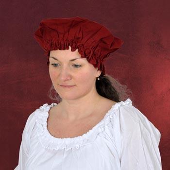 Mittelalterliche Haube, rot