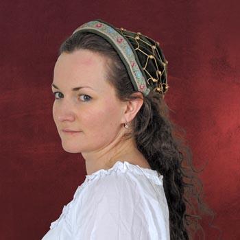 Mittelalterliche Haube mit Bord�re - gr�n