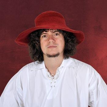 Mittelalterlicher Hut aus Wollfilz - rot