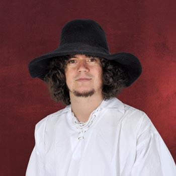 Mittelalterlicher Hut aus Wollfilz - schwarz